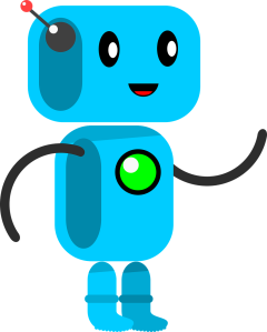 Image of a blue robot with features which might appeal to a child